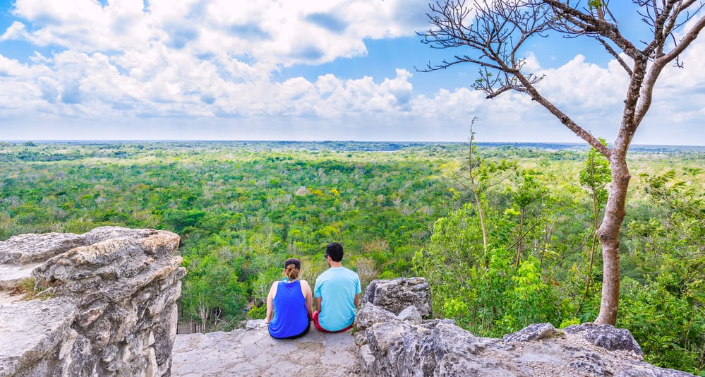 Mexican jungle viewed from Coba pyramid