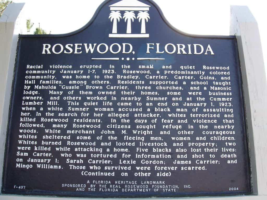 Rosewood Heritage Marker, Florida