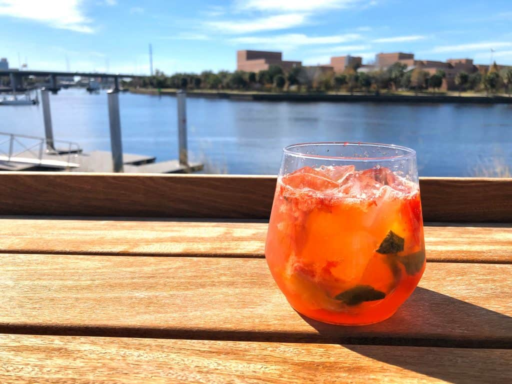 Drink overlooking Hillsborough River, Tampa, FL